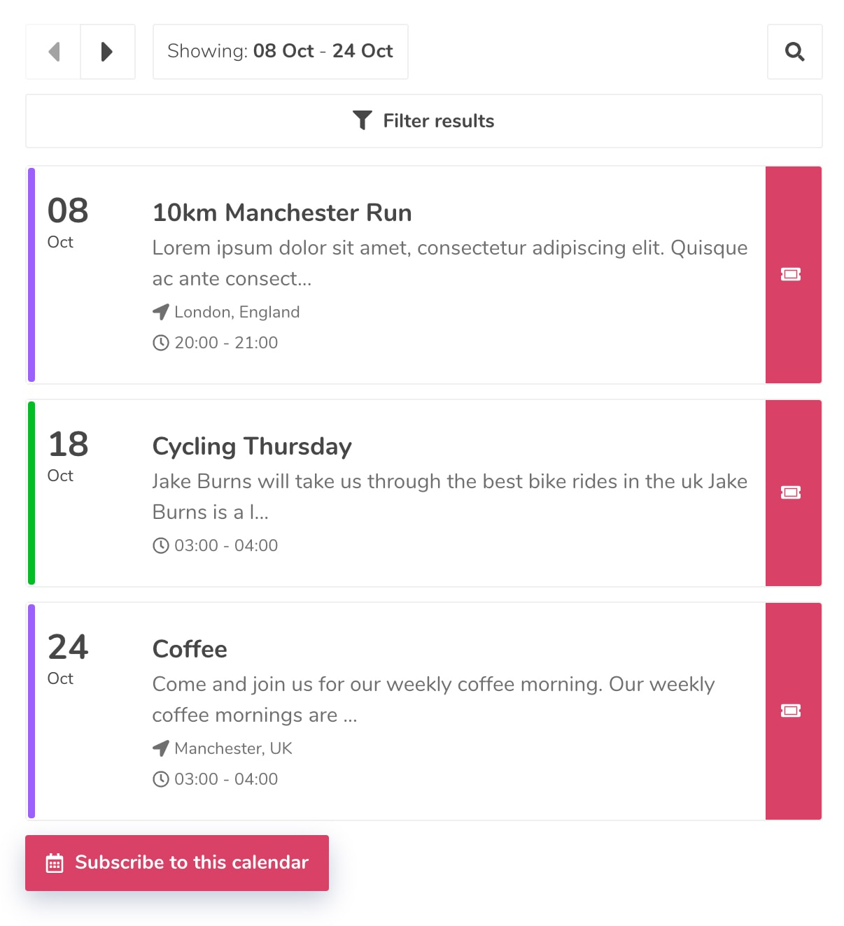 Example of how Event Calendar App looks on a mobile
